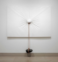 "Nobuo Sekine, ""Phase of Nothingness--Cloth and Stone,"" 1970/1994, cloth, stone, rope, and panel, The Rachofsky Collection and the Dallas Museum of Art through the DMA/amfAR Benefit Auction Fund"