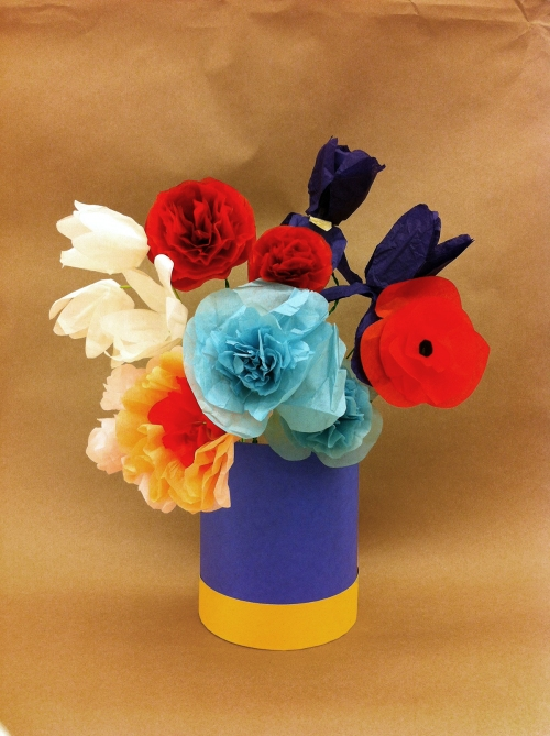 Bouquet of (Paper!) Flowers in a Blue Vase (2014), Jennifer Sheppard
