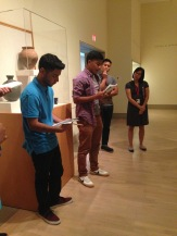 Abel and Guillermo sharing their response to a piece from the Japanese collection.
