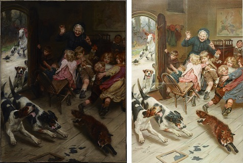 "Images (left to right): Arthur John Elsley, Hard Pressed (Any Port in a Storm/Late for School), 1898, oil on canvas, Dallas Museum of Art, gift of Kim Jordan; ""Late for School."" Illustrated London News [London, England] [27 Nov. 1899]: n.p. Illustrated London News. Web. 24 Sept. 2014."