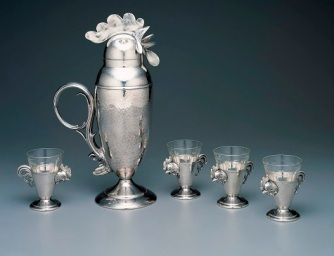 Cocktail cup and cocktail shaker, c. 1928, Weidlich Brothers Manufacturing Company, silverplate and glass, Dallas Museum of Art, the Patsy Lacy Griffith Collection, bequest of Patsy Lacy Griffith