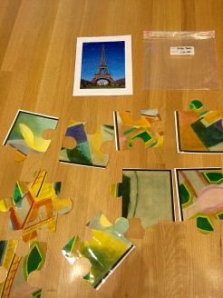Puzzle version of Robert Delaunay's Eiffel Tower.