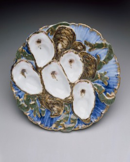 Oyster plate from the Rutherford B. Hayes White House service, designed 1879; Haviland and Company, Limoges, France; Theodore R. Davis, designer; porcelain and enamel; Dallas Museum of Art, the Charles R. Masling and John E. Furen Collection, gift of Mr. and Mrs. William Rubin, The Arthur A. Everts Co., and Arthur and Marie Berger by exchange