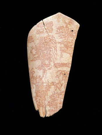 Incised bone depicting an accession ceremony, Maya, A.D. 600-900, Dallas Museum of Art, The Otis and Velma Davis Dozier Fund