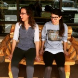 Liz and Taylor take a break from sitting in the car!
