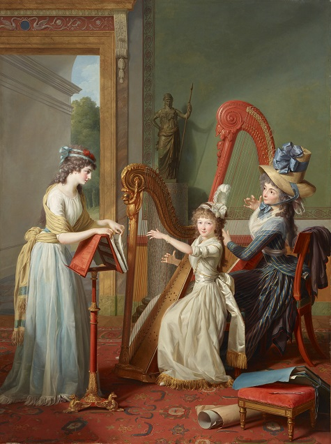 Jean Antoine Theodore Giroust, The Harp Lesson (La leçon de Harpe), 1791, oil on canvas, Dallas Museum of Art, Foundation for the Arts Collection, Mrs. John B. O'Hara Fund -