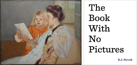 (left) Mary Cassatt, The Reading Lesson, c. 1901, oil on canvas, Lent by the Pauline Allen Gill Foundation; (right) The Book With No Pictures jacket cover, source: EmertainmentMonthly.com