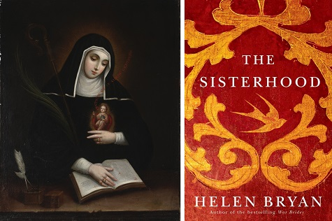 (left) Miguel Cabrera, Saint Gertrude (Santa Gertrudis), 1763, oil on canvas, Dallas Museum of Art, gift of Laura and Daniel D. Boeckman in honor of Dr. William Rudolph; (right) The Sisterhood book jacket, source: Amazon.com