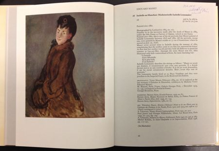 Page of the Sotheby's catalog showing the Manet