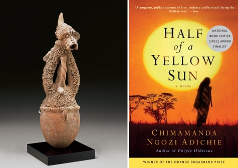 (left) Vessel (itinate), early 20th century, Cham or Mwona peoples, ower Gongola River Valley, Nigeria, Africa, terracotta, Dallas Museum of Art, gift of The Cecil and Ida Green Foundation; (right) Half of a Yellow Sun book jacket , source: Mr. Kew blog