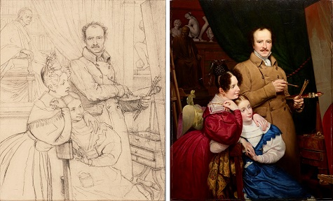 "(left) Study for ""Self-Portrait of the Artist and his Family in his Studio,"" c. 1833, pencil on paper, private collection (right) Paul Claude-Michel Carpentier, Self-portrait of the artist and his family in his studio, 1833, oil on canvas, Dallas Museum of Art, Foundation for the Arts Collection, Mrs. John B. O'Hara Fund, 2014.38.FA"