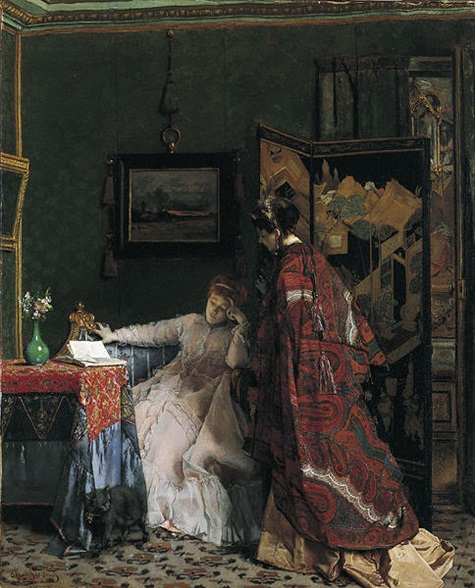 Alfred Stevens, The Visit (La Visite), before 1869, oil on canvas, Dallas Museum of Art, gift of the Pauline Allen Gill Foundation 1997.112