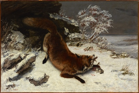 Gustave Courbet, Fox in the Snow, 1860, oil on canvas, Dallas Museum of Art, Foundation for the Arts Collection, Mrs. John B. O'Hara Fund 1979.7.FA