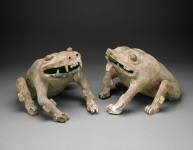 Crouching frog (one of pair), Mixtec, Late Postclassic period, c. A.D. 1300-1500, ceramic, stucco, paint, Dallas Museum of Art, Dallas Art Association Purchase 1969.13.1