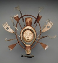 Mask with seal or sea otter spirit, Yup'ik, late 19th century, wood, paint, gut cord, and feathers, Dallas Museum of Art, gift of Elizabeth H. Penn 1976.50