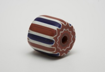 Striped chevron bead, n.d., drawn glass, Dallas Museum of Art, gift of The Dozier Foundation 1990.295.1
