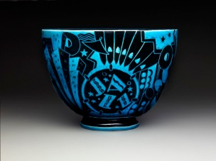 """Viktor Schreckengost, Cowan Pottery Studio, """"Jazz bowl"""" or """"New Yorker"""", c. 1930-1931, earthenware, Dallas Museum of Art, The Patsy Lacy Griffith Collection, gift of Patsy Lacy Griffith by exchange 2010.32"""