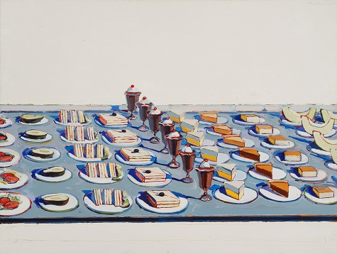 Wayne Thiebaud, Salads, Sandwiches, and Desserts, 1962, oil on canvas, Sheldon Museum of Art, University of Nebraska–Lincoln, NAA–Thomas C. Woods Memorial © Wayne Thiebaud/Licensed by VAGA, New York, NY