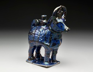 Figurine of a bull, Iran: 12th–13th century, fritware, painted in luster on a blue glaze, The Keir Collection of Islamic Art on loan to the Dallas Museum of Art, K.1.2014.350
