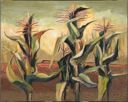 Otis Dozier, Indian Corn, 1965, oil on canvas, Dallas Museum of Art, gift of The Dozier Foundation, ©Denni Davis Washburn, William Robert Miegel Jr, and Elizabeth Marie Miegel, 1990.47