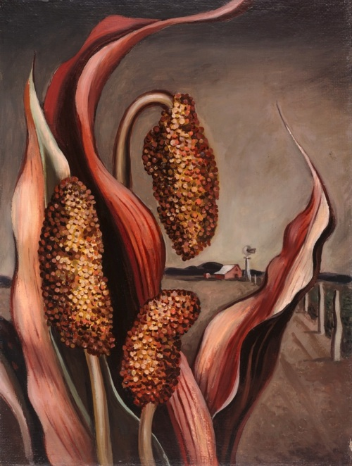 Otis Dozier, Maize and Windmill, 1937, oil on Masonite, Dallas Museum of Art, The Barrett Collection, Dallas, Texas, ©Denni Davis Washburn, William Robert Miegel Jr, and Elizabeth Marie Miegel, 2007.15.20