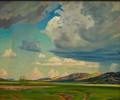 "Olin Herman Travis, ""Cloud Study, Arbuckle Mountains,"" n.d. oil on board, Dallas Museum of Art, The Barrett Collection, Dallas, Texas, 2007.15.57"