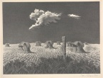 "John Rogers Cox, ""Wheat Shocks,"" 1951, lithograph, Dallas Museum of Art, bequest of Rozwell Sam Adams in memory of Herndon Kimball Adams and Loither Iler Adams, 2001.35"