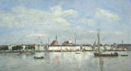"Eugène–Louis Boudin, ""The Quay at Antwerp,"" 1874, oil on panel, Dallas Museum of Art, gift of the Meadows Foundation, Incorporated, 1981.102"