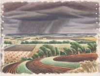 """Edward Bearden, """"Storm on the Plains,"""" 1944, watercolor, Dallas Museum of Art, Ted Dealey Purchase Prize, Fifteenth Annual Dallas Allied Arts Exhibition, 1944, 1944.3"""