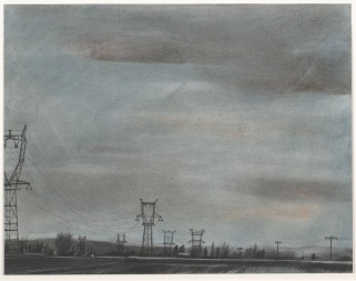 """Danny Williams, """"Converging Power Lines, Sauix-Marchais,"""" 2007, powered pigment, charcoal, conté, and ink on paper, Dallas Museum of Art, Texas Artists Fund, 2008.36.4, © Danny Williams"""