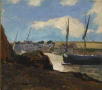 """Odilon Redon, """"The Port of Morgat,"""" 1882, oil on canvas, Dallas Museum of Art, The Wendy and Emery Reves Collection, 1985.R.53"""