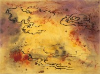 """Sigmar Polke, """"Clouds,"""" 1989, mixed media on canvas, Dallas Museum of Art, DMA/amfAR Benefit Auction Fund and the Contemporary Art Fund: Gift of Mr. and Mrs. Vernon E. Faulconer, Mr. and Mrs. Bryant M. Hanley, Jr., Marguerite and Robert K. Hoffman, Cindy and Howard Rachofsky, Deedie and Rusty Rose, Gayle and Paul Stoffel, and two anonymous donors, 2000.388, © Estate of Sigmar Polke/Artists Rights Society (ARS), New York/VG Bild-Kunst, Bonn, Germany"""