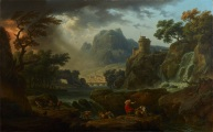 "Claude-Joseph Vernet, ""A Mountain Landscape with an Approaching Storm,"" 1775, oil on canvas, Dallas Museum of Art, Foundation for the Arts Collection, Mrs. John B. O'Hara Fund, 1983.41.FA"