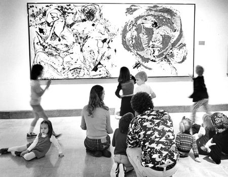 Preschoolers visit the DMFA and learn about Jackson Pollock. Photo by Clint Grant, Dallas Morning News, October 29, 1976