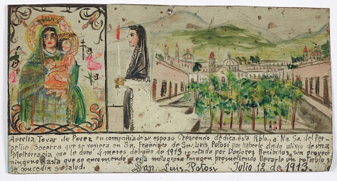 Retablo Dedicated by Aurelia Tovar de Perez, 10 July, 1913, oil on tin, Dallas Museum of Art, gift of Mr. and Mrs. Stanley Marcus Foundation 1961.85