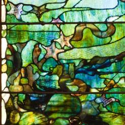 "Louis Comfort Tiffany, Window with Starfish (""Spring""), c. 1885-1895, Dallas Museum of Art, The Eugene and Margaret McDermott Fund, Inc."