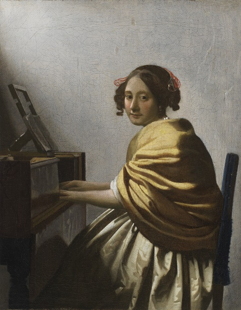 Johannes Vermeer, Young Woman Seated at a Virginal, c. 1670–1672, oil on canvas, The Leiden Collection, Inv# JVe-100 28.2015.1 © The Leiden Collection, New York