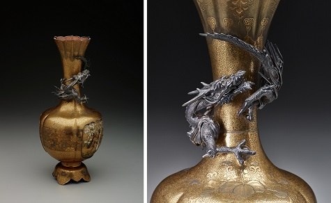 Vase, n.d., Japan, gold lacquer, silver, gold foil, Dallas Museum of Art, Foundation for the Arts Collection, The John R. Young Collection, gift of M. Frances and John R. Young 1993.86.41.FA