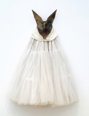 "David Hammons, ""Ivory Spirit,"" 1990, metal, cotton, netting, silk, pearls, Dallas Museum of Art, gift of two anonymous donors, Ms. Judy Pollock, and the General Acquisitions Fund, 1994.50"