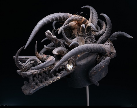 Helmet mask (komo), mid–20th century, wood, glass, animal horns, fiber, and mirrors, Dallas Museum of Art, gift of David T. Owsley 1997.24