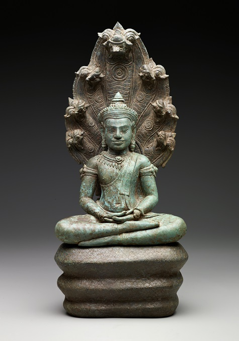 Buddha Muchalinda, Cambodia, Khmer empire, late 12th–early 13th century, copper alloy, Dallas Museum of Art, the Cecil and Ida Green Acquisition Fund 2005.3.A-C