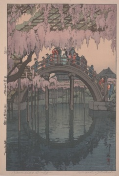 "Hiroshi Yoshida, ""Kameido Bridge,"" 1927, polychrome woodblock print, Dallas Museum of Art, the Abram C. Joseph and Ruth F. Ring Collection, gift of Miss Ruth F. Ring, 1985.79"