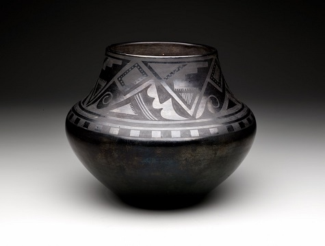 Maria Martinez and Julian Martinez, Black-on-black jar with geometric designs, c. 1920, Dallas Museum of Art, The Otis and Velma Davis Dozier Fund, 2014.26.3