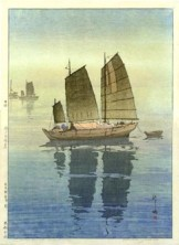 Hiroshi Yoshida, Sailboats: Forenoon (Hansen, Gozen), from the series Inland Sea, 1926, Museum of Fine Arts, Boston, Museum purchase with funds donated by Mrs. Laurence A. Brown's Group.