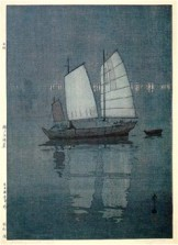 Hiroshi Yoshida, Sailboats: Night (Hansen, Yoru), from the series Inland Sea, 1926, Museum of Fine Arts, Boston, Chinese and Japanese Special Fund.