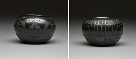 Marvin and Frances Martinez, Black-on-black bowl with feather motif, late 20th century, Dallas Museum of Art, gift of Dr. and Mrs. Robert I. Kramer, 2014.43.63, not currently on view