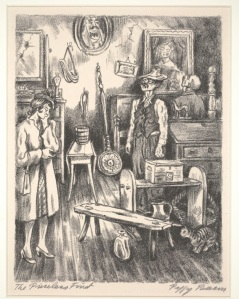 Peggy Bacon, The Priceless Find, 1944; lithograph; Dallas Museum of Art, Foundation for the Arts Collection, gift of Mrs. Alfred L. Bromberg