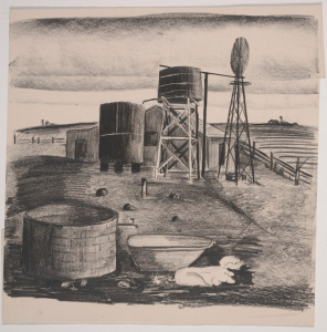 Velma Davis Dozier, Barnyard with Tanks and Pigs, n.d.; crayon; Dallas Museum of Art, gift of Denni Davis Washburn and Marie Scott Miegel, ©Denni Davis Washburn, William Robert Miegel Jr, and Elizabeth Marie Miegel
