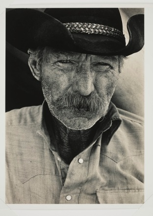 """Bank Langmore, """"Portrait of Old Cowboy, Vern Torrance, Padlocks Ranch, Montana,"""" 1974, gelatin silver print with toning, Dallas Museum of Art, gift of Paul Brauchle, 1992.305.1"""