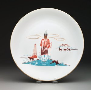 "Acee Blue Eagle, Plate with ""Bacon Rind"" pattern decoration, c. 1955; porcelain and decal; Dallas Museum of Art, 20th-Century Design Fund"